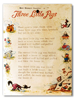 Three Little Pigs Blister Card Back